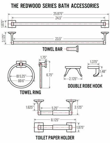 Brushed Nickel Redwood Series 4 Piece Bath Hardware Bathroom Accessory Set