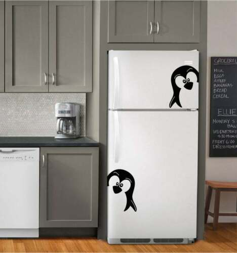 Wall Decal Vinyl Decor Two Penguins for Your Kitchen of Refridgerator Sticker