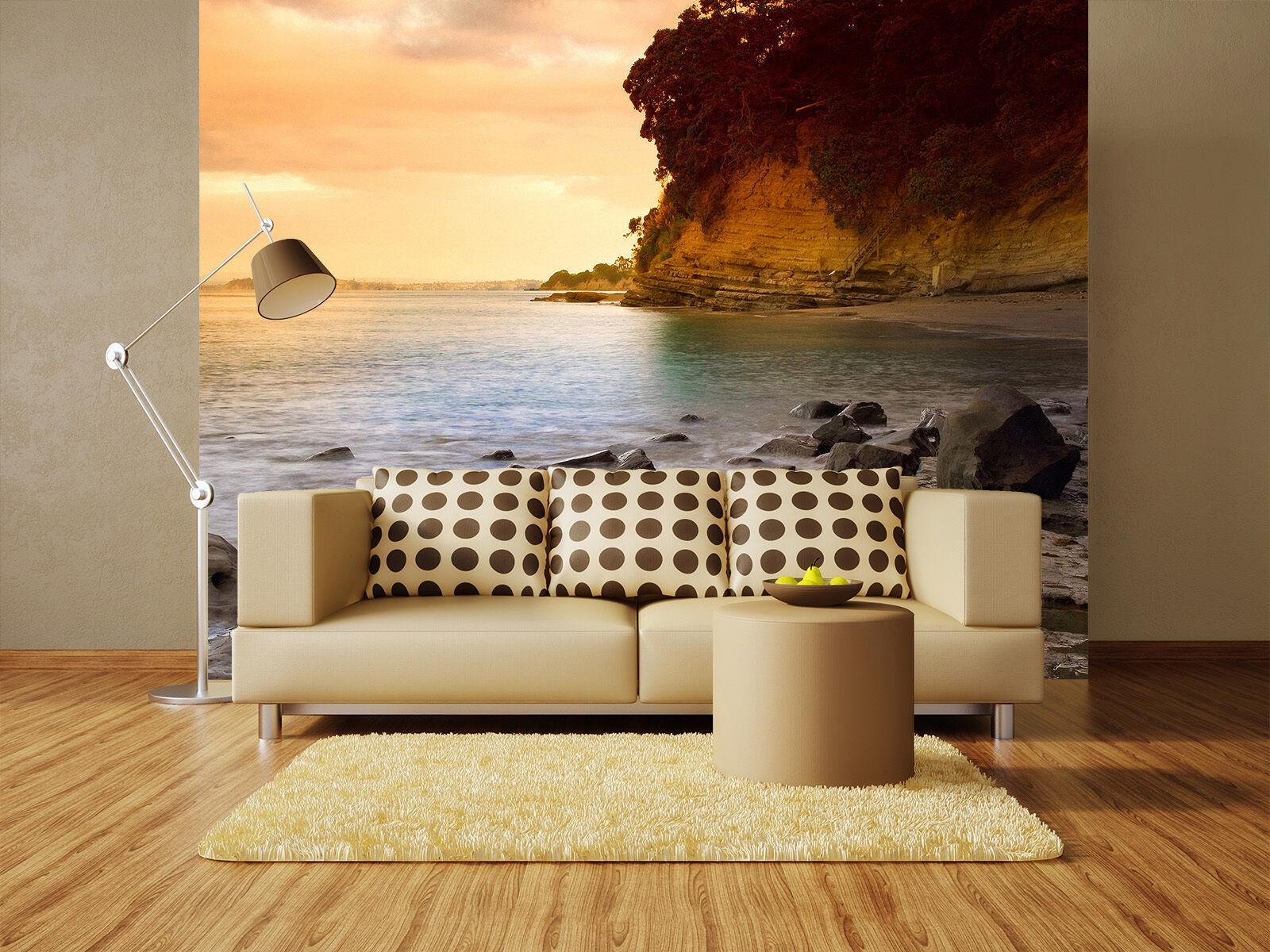 3D Meerwasser in die klippen Fototapeten Wandbild Fototapete BildTapete Familie