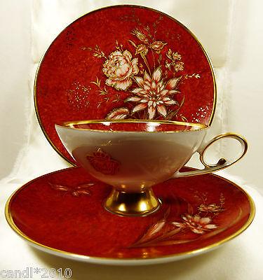 Alka-Kunst Alboth & Kaiser Bavaria Melanie Echt Gold 3pc set Teacup saucer plate
