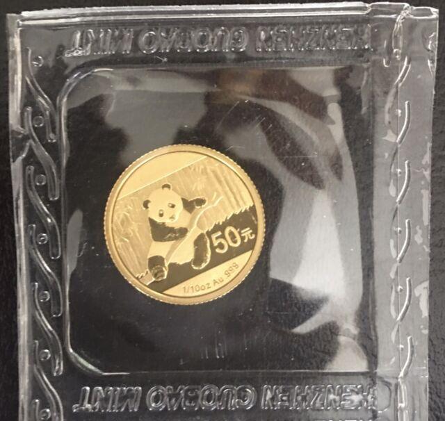 2014 1/10 Oz Gold Chinese Panda Coin 50 Yuan Sealed In Original Packaging