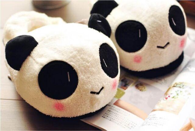 New Women Ladies Cute Panda Winter Warm Soft Plush Antiskid Indoor Home Slippers