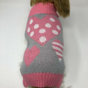 Dog-Puppy-Knitted-Sweater-Winter-Warm-Gray-with-Pink-Hearts-S-M-L-XL