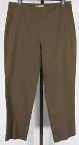Talbots-Womens-Ladies-Petites-Brown-Side-Zip-Ankle-Length-Pants-Size-10P