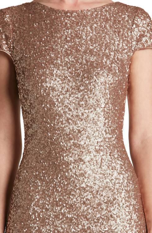 DRESS THE POPULATION 'TERESA' BODY BODY BODY -CON pink gold GOWN DRESS sz  XS 2ac760
