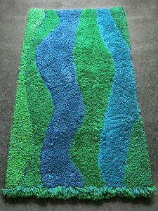 70s Pop Art Wall Hanging Carpet Rug Wool Blue Green Handmade Mid-Century Vintage
