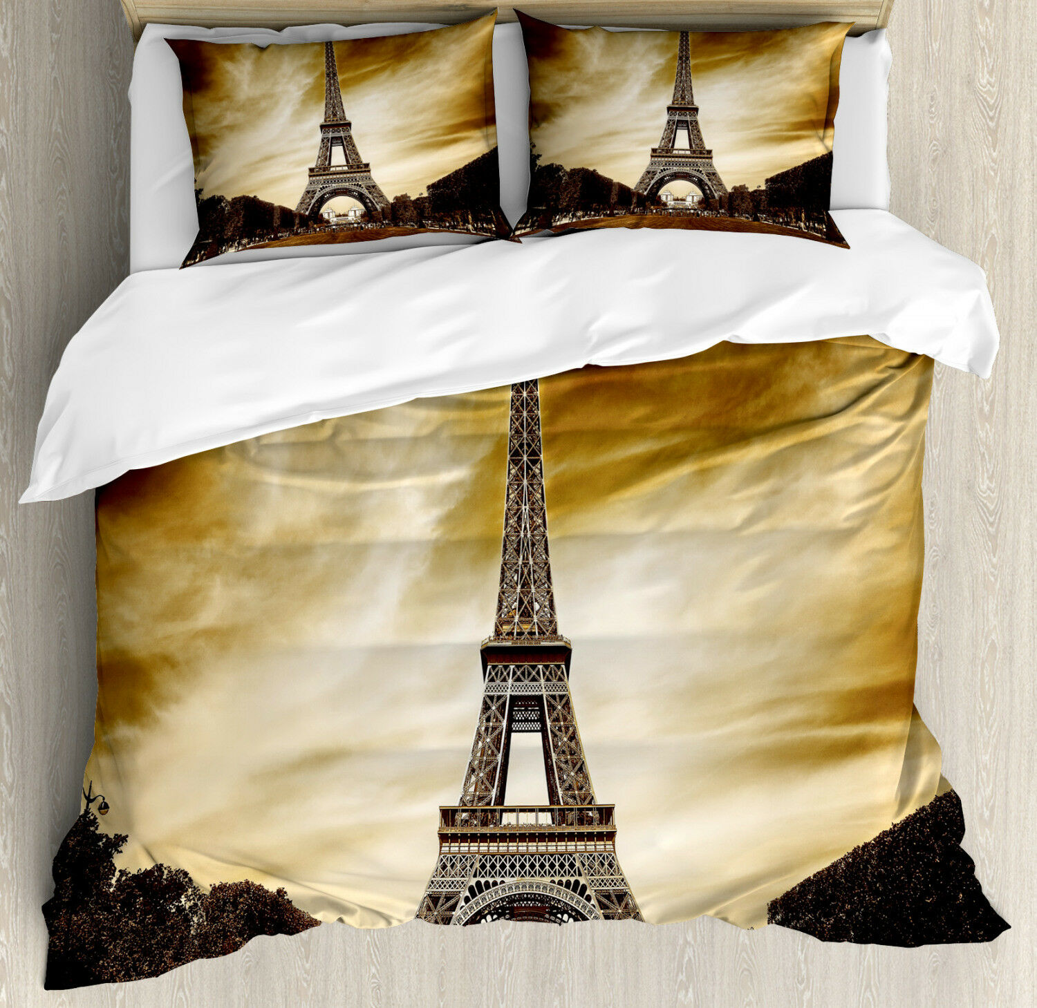 Eiffel Duvet Cover Set with Pillow Shams Paris France Brown Skies Print