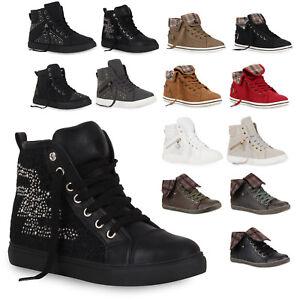 Zu Top 73103 Sneakers Look Strass Zipper Details New Damen High Sportschuhe YIb7vf6gy