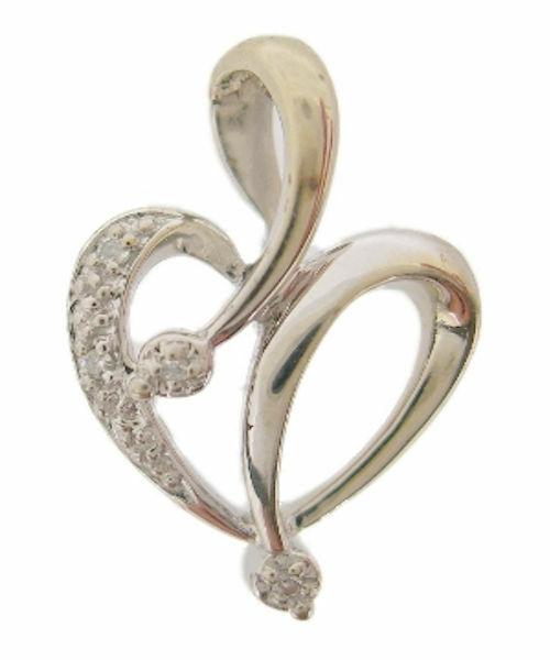 Ladies 10K White gold Heart Diamond Fashion Pendant Charm