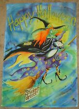 """Peeking Ghost Halloween Applique House Flag Witch Embroidered 29/"""" x 42/"""""""