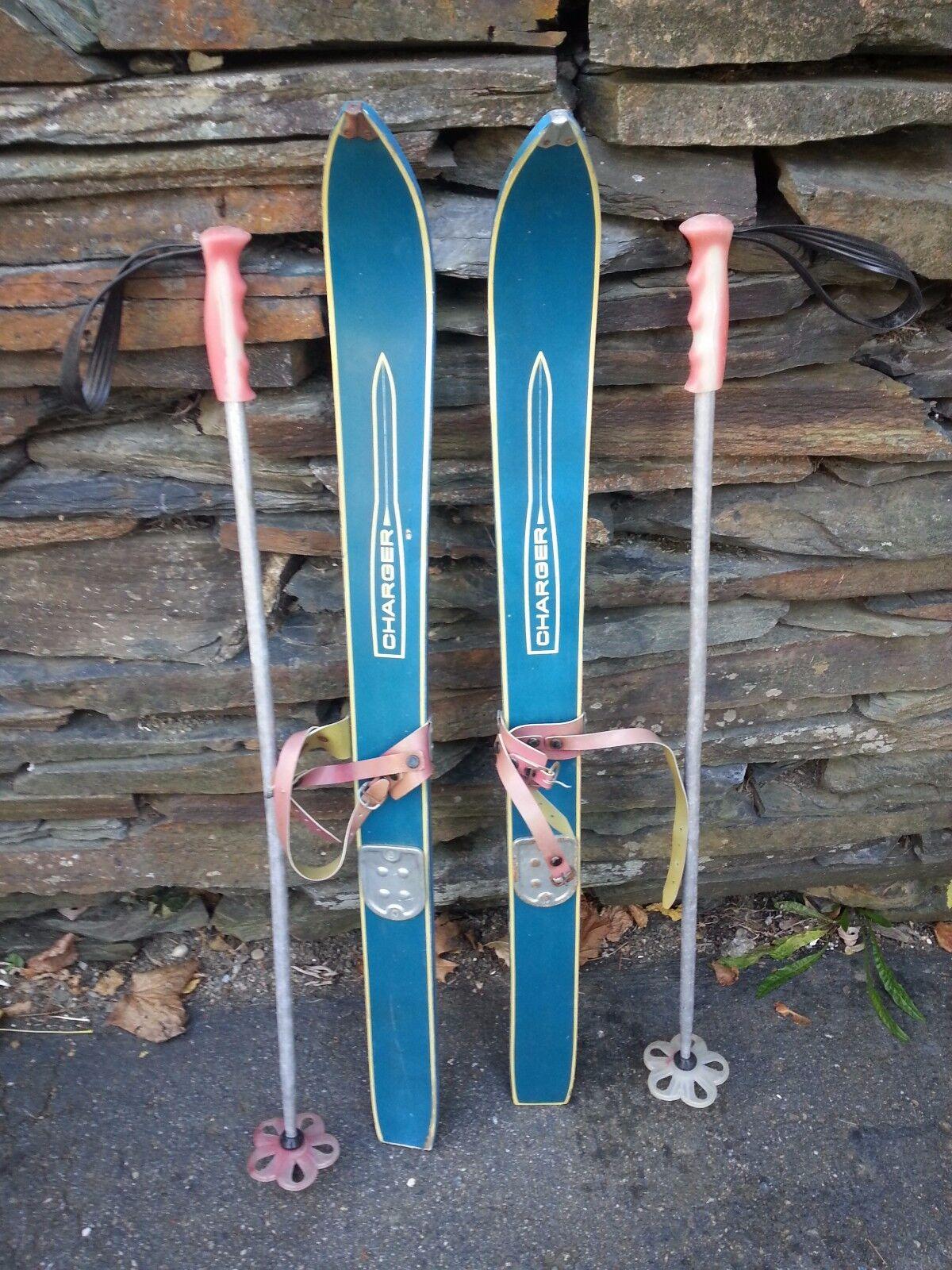 VINTAGE Wooden 36  Skis Has  Bindings Has blueE  Finish with Metal Poles