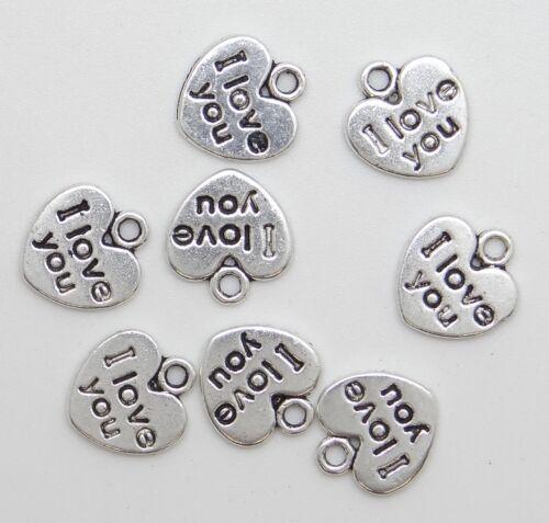 """10 breloques pendentifs coeur /"""" I love you /""""en métal argenté vieilli,fimo-bc192"""