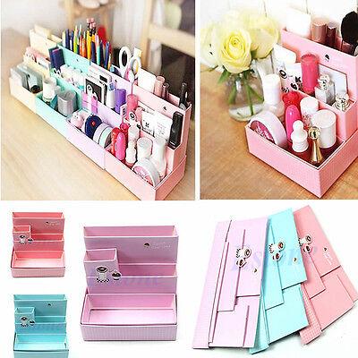 DIY Paper Board Storage Box Desk Decor Stationery Makeup Cosmetic Organizer Case