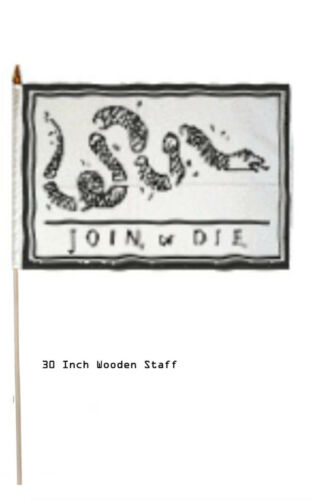 "12x18 Wholesale Lot 6 Join Or Die Gadsden Stick Flag 30/"" wood staff"