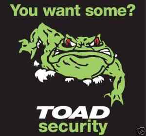 3 x Toad New Car Alarm Window Stickers. Bargain Buy