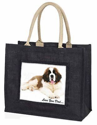 St Bernard Hund' liebe Dich Papa' große schwarze Einkaufstasche