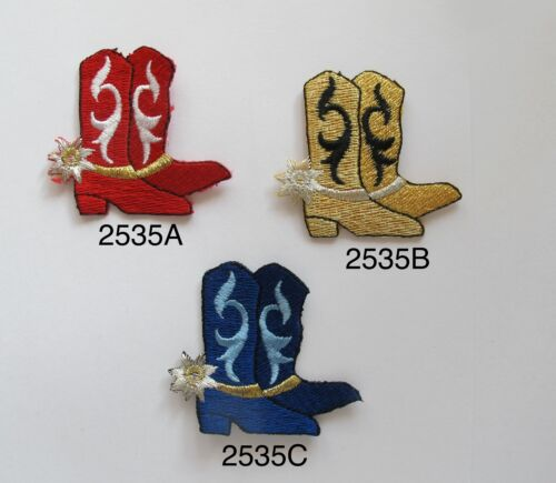 #2535 Red,Gold,Blue Cowboy Boots w//Spur Embroidery Applique Patch