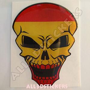 Pegatina-Calavera-Bandera-Espana-Adhesivo-Relieve-Coche-Moto-Skull-Tablet-3D