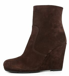 4a087ca9b0c Prada Wedge Ankle Boots Suede Brown Women Size 41.5 EUR 5497*   eBay