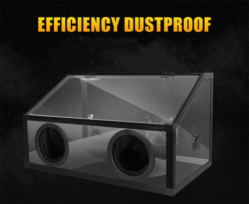 Fan 2 Holes Enclosed Electric Grinding Polisher Acrylic Dust Box Cover with LED