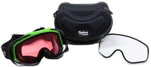 Adult Snowcross Anti-Fog Goggles Typhoon Sports Rose & Clear Lens GREEN