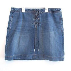 Ann-Taylor-Loft-Jean-Skirt-Pencil-Medium-Blue-Denim-Lace-Tie-Up-Pockets-Size-14