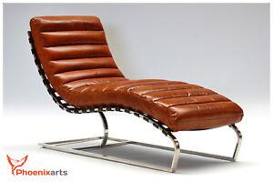 Sedie Vintage Pelle : Vera pelle vintage sdraio marrone sedia design récamière chaise