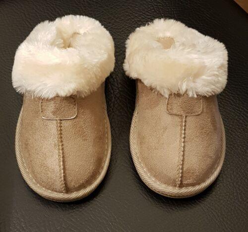 Ella kids girls faux suede luxury fur lined slippers pink//beige sizes 10-2