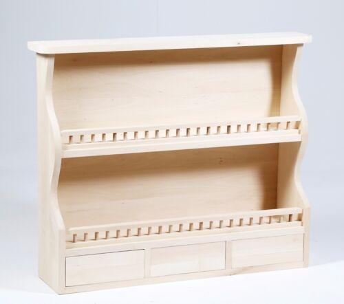 Piattaia in legno al grezzo in legno Tiglio con due vani e 3 cassetti Decoupage