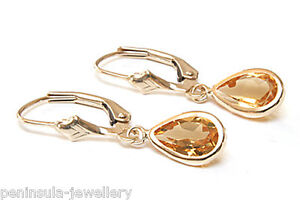 9ct-Gold-Pear-Cut-Citrine-LeverBack-Earrings-Gift-Boxed-Made-in-UK