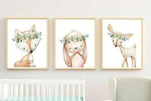 3 Woodland Animales Vivero Impresión Conejo verdor Ciervo Fox follaje Pared Arte 616-A