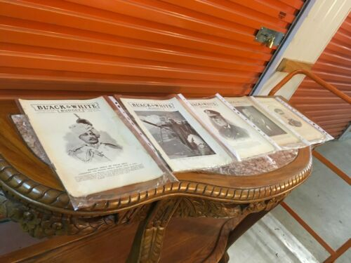 Collection of 5 Antique c190001 Historical Black & White Budget Magazines