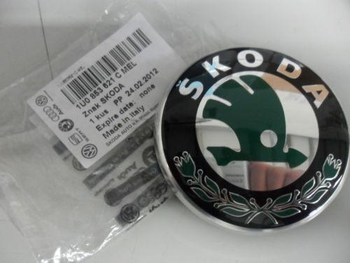 Octavia Bonnet Badge Skoda Fabia Original Green Black Chrome 3U0853621BMEL