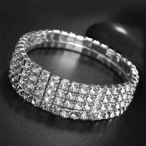 Lady Rhinestone Silver Stretchy Anklet Shiny Ankle Bracelet Chain Foot Jewelry