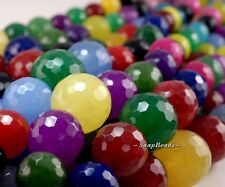6MM-14MM RAINBOW JADE GEMSTONE GRADUATED MICRO FACETED ROUND LOOSE BEADS 15""