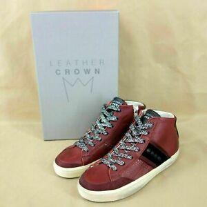 Leather Crown Femmes Chaussures Dames de Sport Baskets Bordeaux Rouge Cuir Neuf