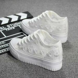 Girls Womens High Tops Wedge Shoes Canvas Floral Lace Mesh Plimsolls Sneakers