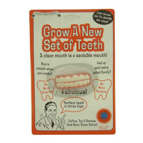 Grow A New Set Of  Teeth Funny Novelty Joke Prank Party Xmas Secret Santa Gift