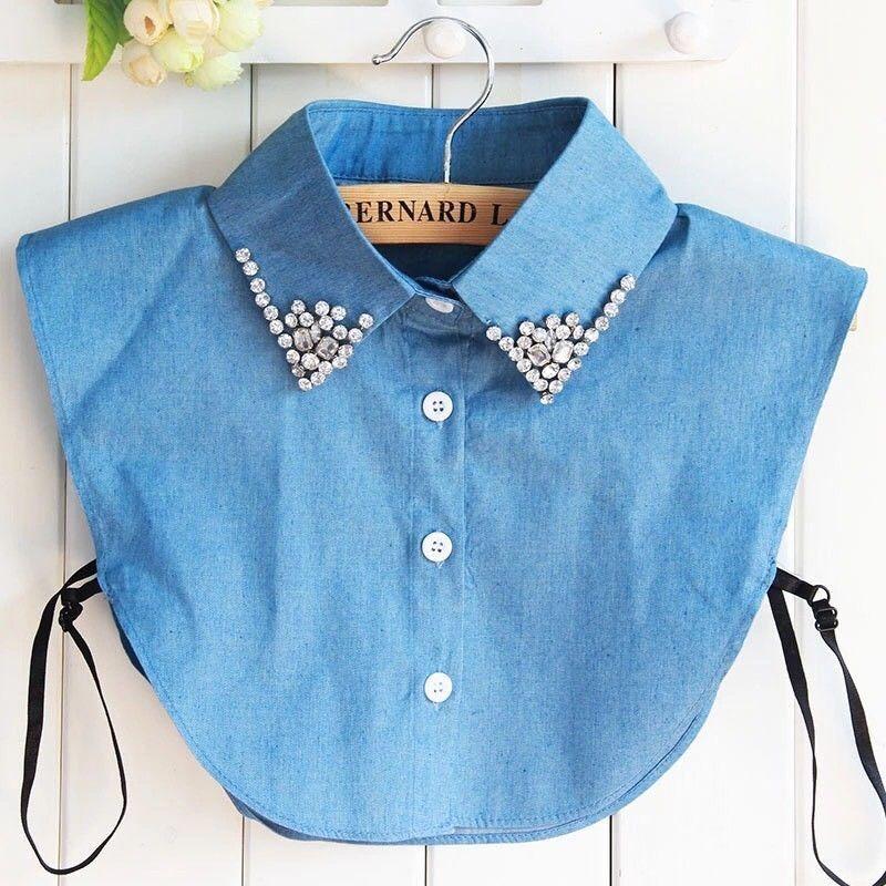 Denim Diamond Embellished Faux Collar Fake Half Shirt Bib False Collar Neckband