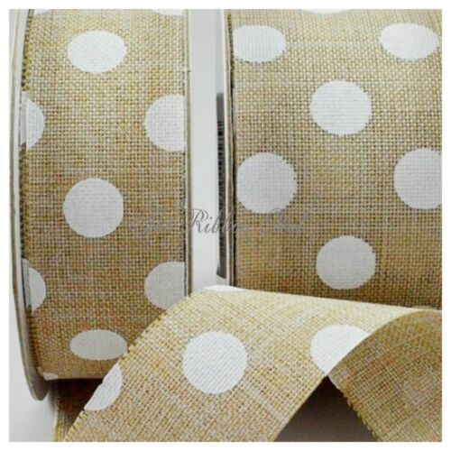 1M//3M//5M 25mm Burlap Polka Dot Printed Ribbon-25mm//38mm