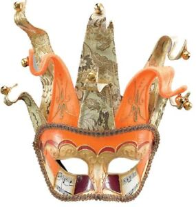 Orange-amp-Gold-Venetian-Jester-Masquerade-Ball-Mask-Full-Face-Theater-Disguise