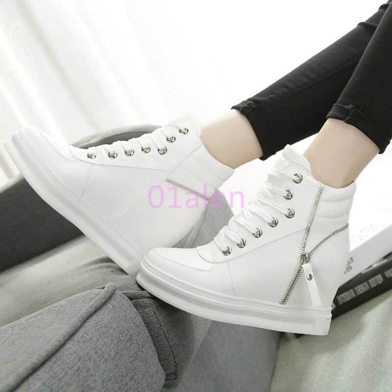 femmes  High Top Trainers Bottes Zip Lace Up Hidden Wedge Heels Sneakers Leather