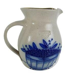 SALMON-FALLS-STONEWARE-1993-Pottery-Salt-Glaze-Blueberry-Basket-Jug-Pitcher-7-034