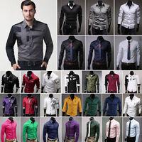 Fashion Mens Long Sleeve Tops Button Up Business Work Smart Formal Dress Shirt