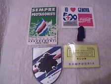 SAMPDORIA CALCIO 2 ADESIVI ULTRAS ULTRA' STEMMA CAMPAGNA ABBONAMENTI 92/93 BADGE