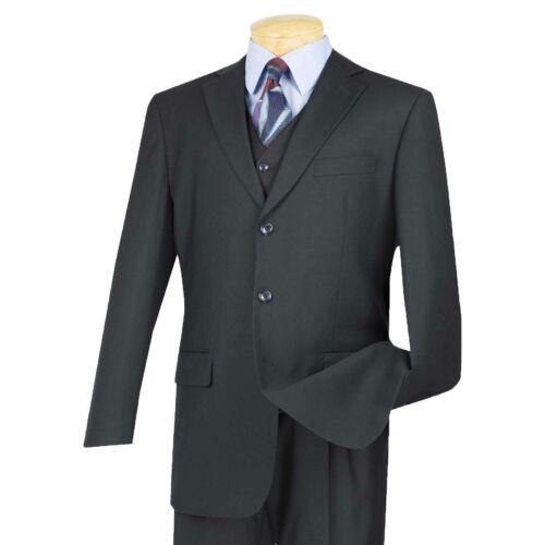 VINCI Men/'s Navy Blue 3 Piece 3 Button Classic Fit Suit w// Matching Vest NEW