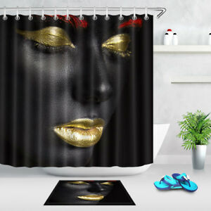Image Is Loading Shower Curtain Colorful Make Up Fashion Model Waterproof