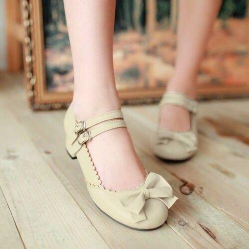Girls Sweet Bowknot Womens Lolita Mary Janes Pumps Ankle Strap Shoes Plus Size