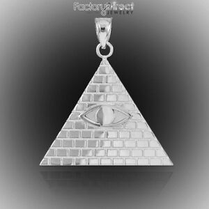 White gold egyptian pyramid with all seeing eye pendant usa dollar image is loading white gold egyptian pyramid with all seeing eye mozeypictures Images