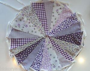 Fabric Bunting 40 Wedding Shabby Garden Party Handmade flower Baby shower chic